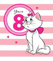 You're 8 Marie The Aristocats 8th Birthday Greeting Card