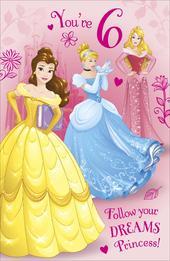 Disney Princess You're 6 Glitter Birthday Greeting Card