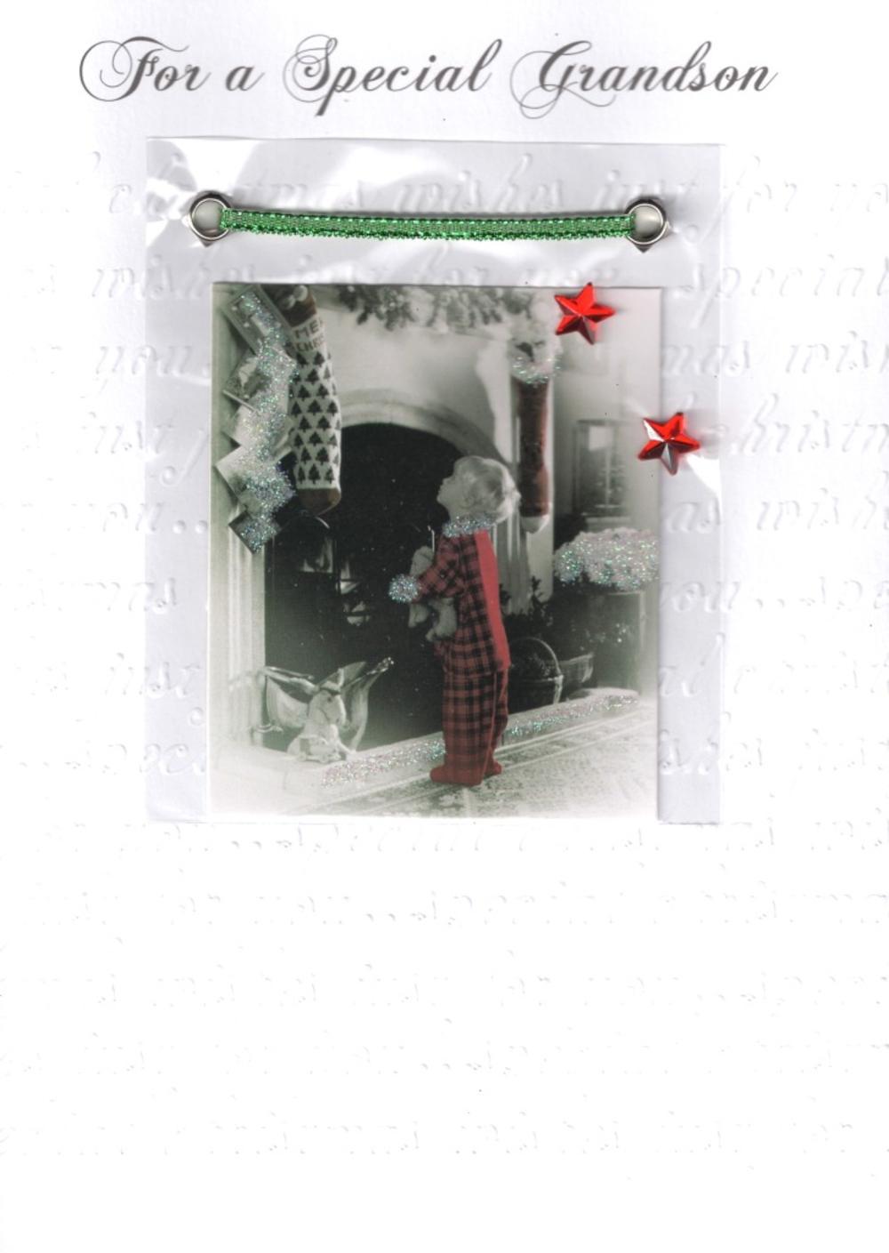 Grandson Luxury Retro 3D Christmas Card
