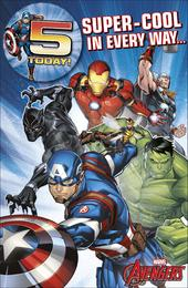 Marvel Avengers 5 Today & Badge 5th Birthday Greeting Card