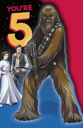 Star Wars You're 5 Chewbacca 5th  Birthday Greeting Card