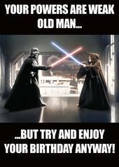 Star Wars Vader & Obi Wan Old Man Birthday Greeting Card