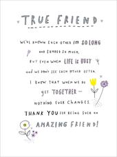 Thank You For Being An Amazing Friend Greeting Card Blank Inside