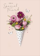 Special Friend Floral Birthday Greeting Card