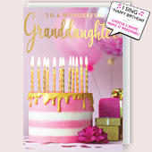 "Wonderful Granddaughter Musical Birthday Card Singing ""Happy Birthday Dear Granddaughter"""