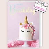 "Pink Unicorn Musical Birthday Card Singing ""Happy Birthday To You"""
