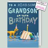 """Roar-some Grandson Musical Birthday Card Singing """"Happy Birthday Dear Grandson"""""""