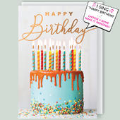 """Cake & Candles Musical Birthday Card Singing """"Happy Birthday To You"""""""