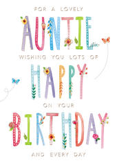 Lovely Auntie Wishing You A Happy Birthday Greeting Card