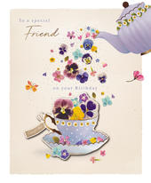 Special Friend Time For Tea Embellished Birthday Greeting Card