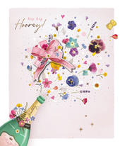 Sip Sip Hooray Bubbly Floral Embellished Blank Greeting Card