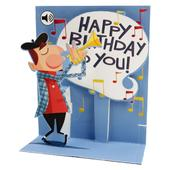 Trumpet Novelty Musical Pop-Up Birthday Greeting Card