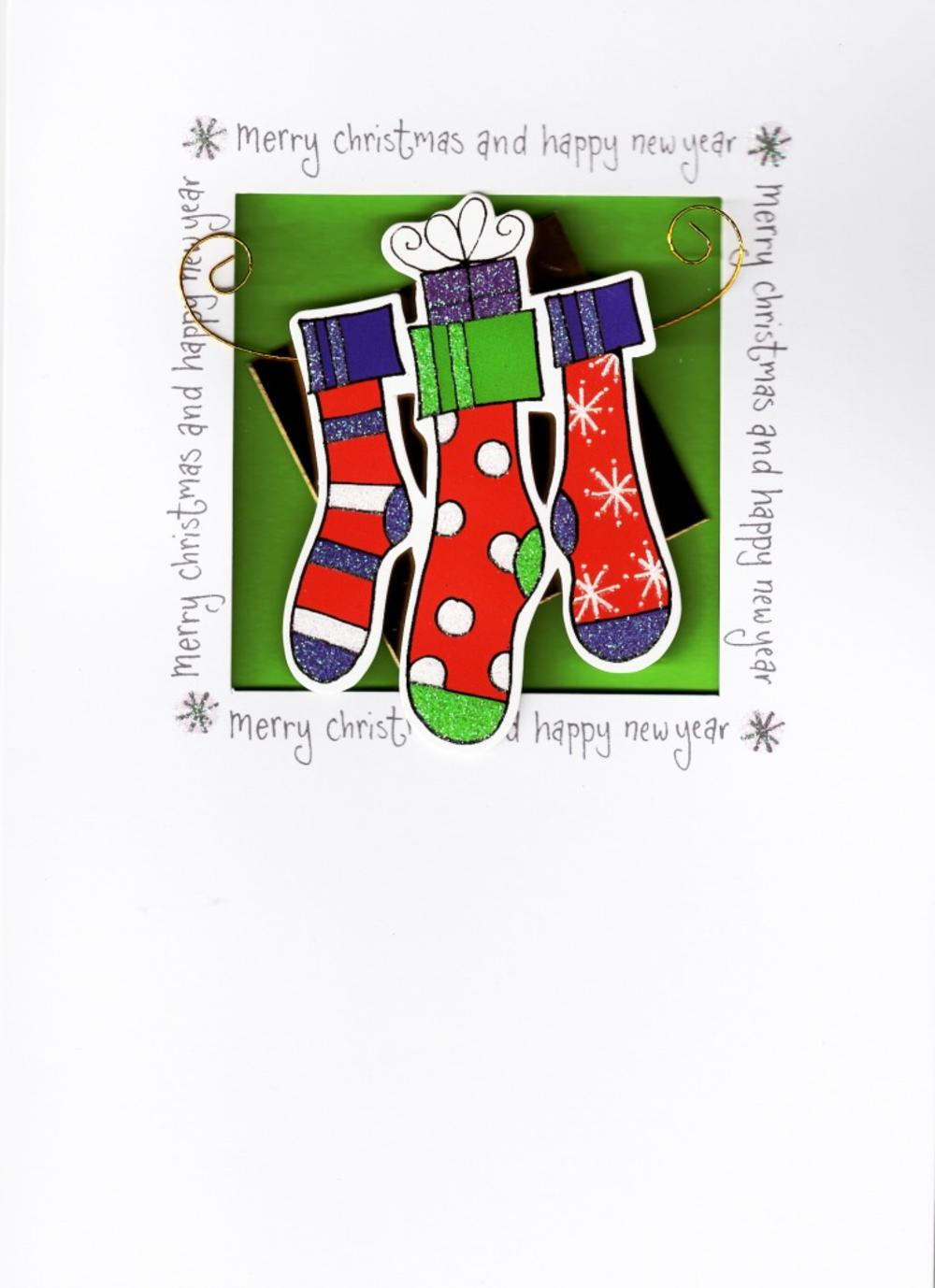 Luxury 3D Handmade Xmas Cards Christmas Stockings Card