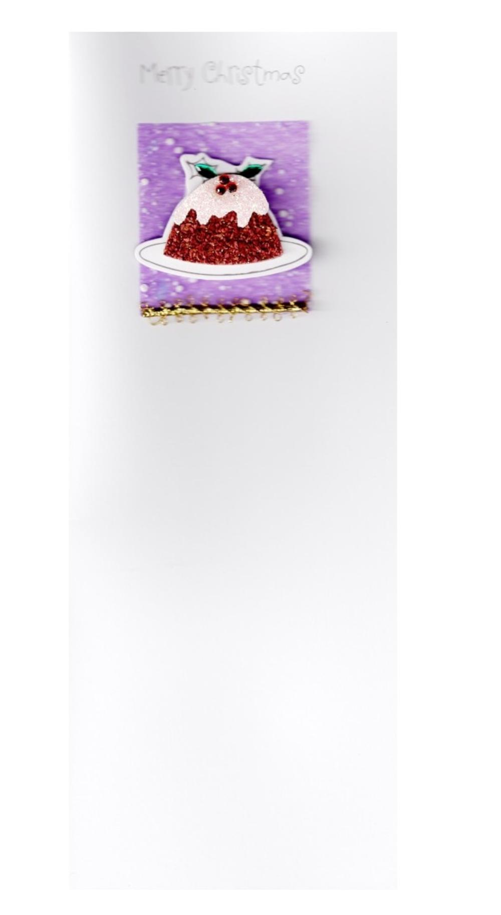 Handmade Xmas Cards 3D Glitter Christmas Pudding Card