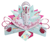 You're 4 Magical Unicorn 4th Birthday Pop-Up Greeting Card
