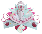 You're 6 Magical Unicorn 6th Birthday Pop-Up Greeting Card