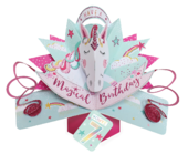 You're 7 Magical Unicorn 7th Birthday Pop-Up Greeting Card