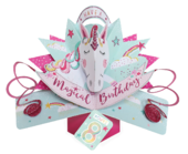 You're 8 Magical Unicorn 8th Birthday Pop-Up Greeting Card