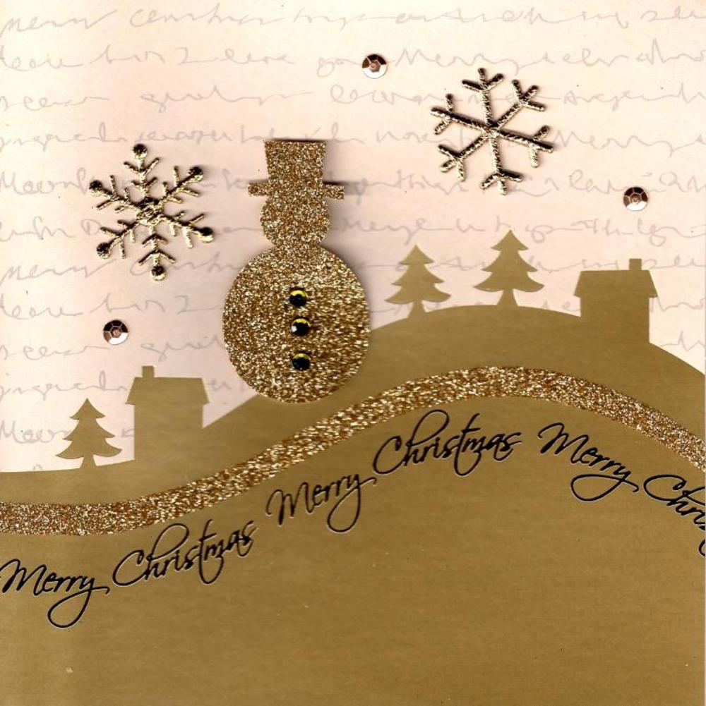 Gold Glitter Snowman Lovely Embellished Christmas Greeting Card