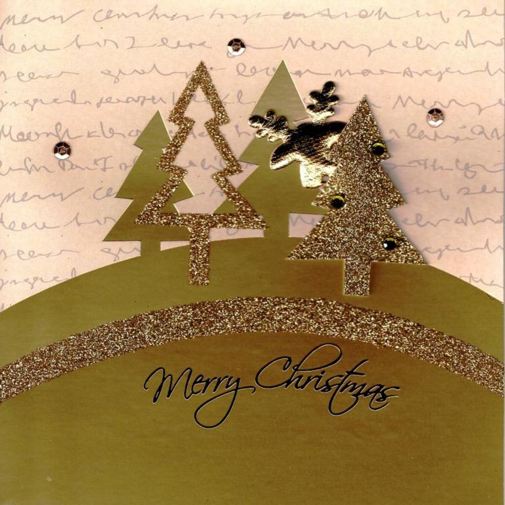 Gold Glitter Trees Reindeer Lovely Embellished Christmas Greeting Card