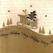 Gold Glitter Santa Sleigh Lovely Embellished Christmas Greeting Card