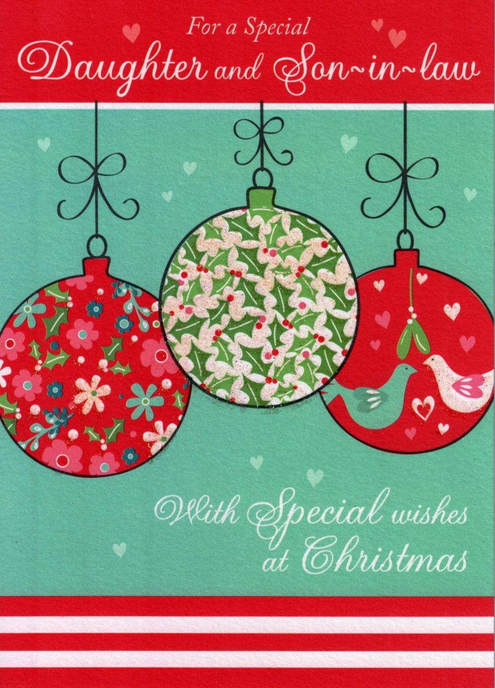 Daughter And Son-In-Law Glitter Christmas Card | Cards
