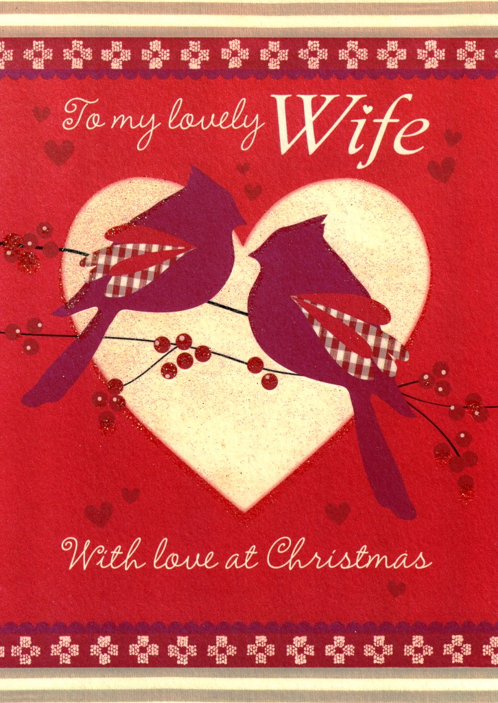 to my lovely wife glitter birds christmas card