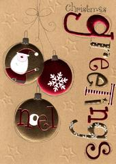 Christmas Greetings Baubles Lovely Embellished Christmas Greeting Card