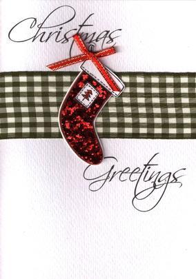 Stocking Lovely Embellished Christmas Greeting Card