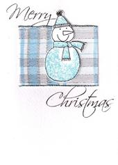 Merry Christmas Snowman Lovely Embellished Christmas Greeting Card