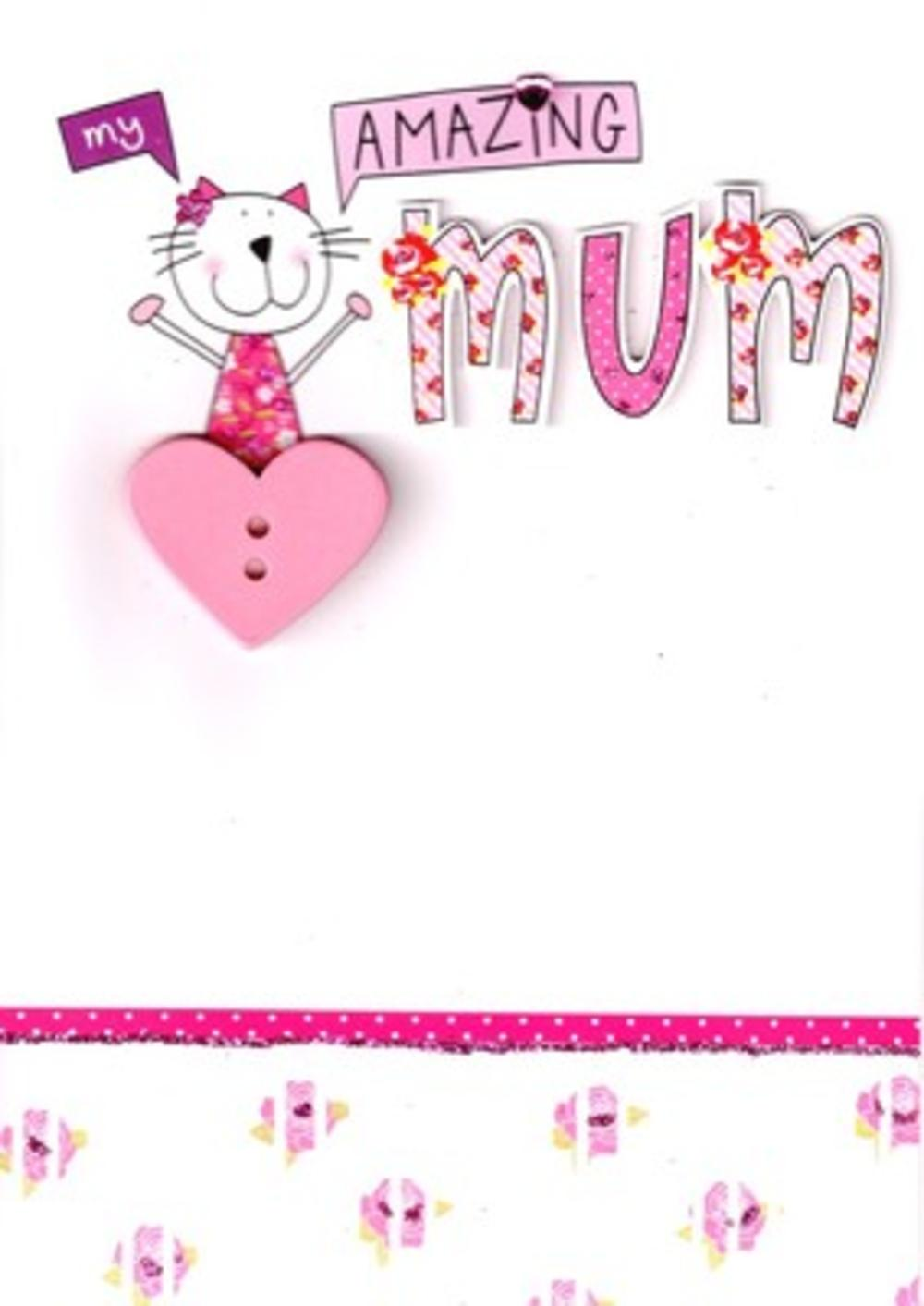 Stunning Hand-Finished Amazing Mum Mother's Day Card