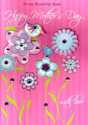 Beautiful Mum Birds Hand-Finished 3D Happy Mother's Day Card