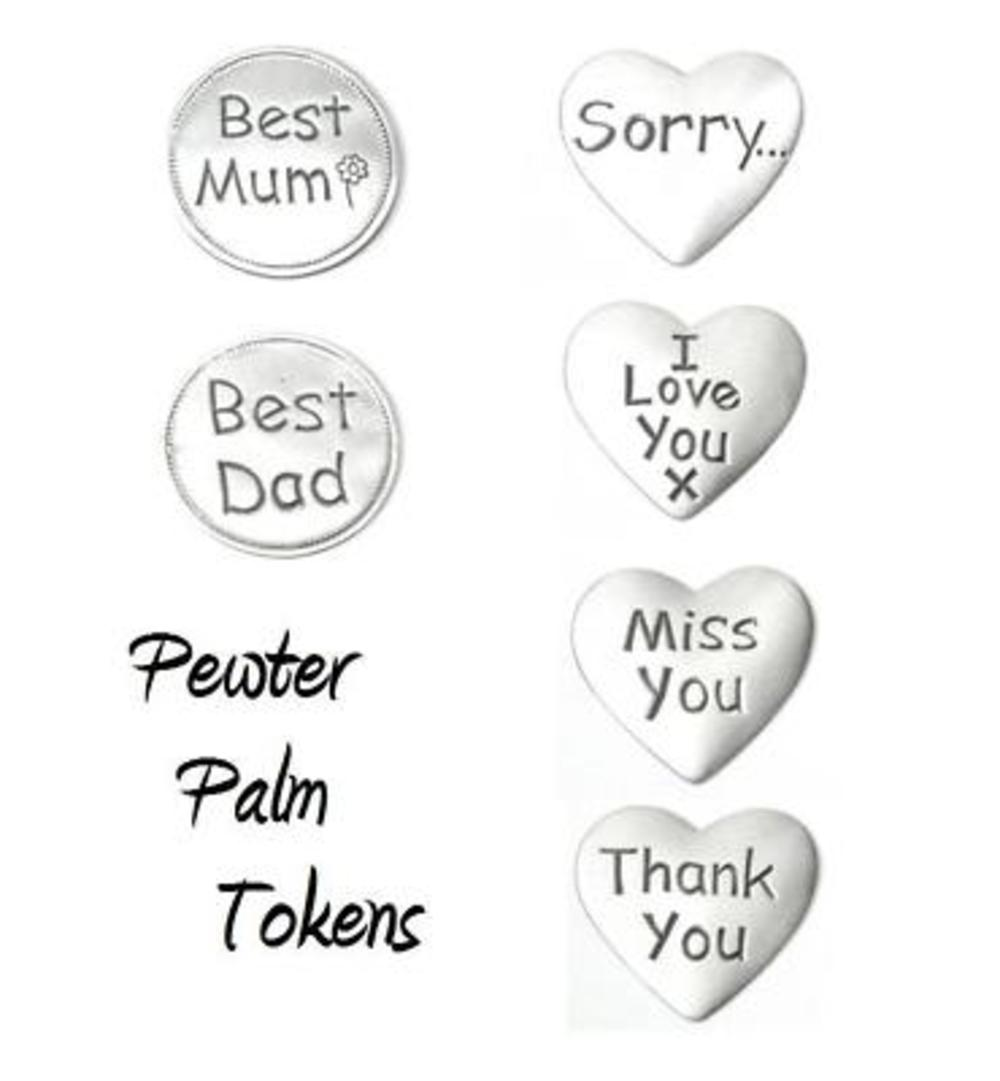 Pewter Palm Pocket Tokens Gift Sentimental Favour Gifts
