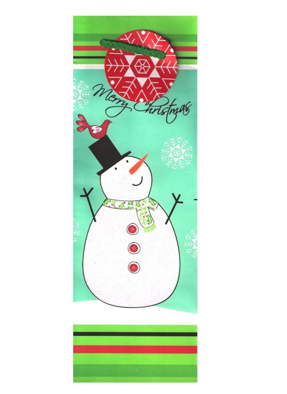 Christmas Snowman Bottle Gift Bag