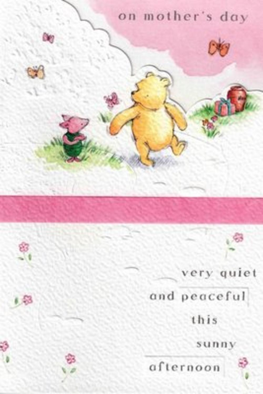 Cute Winnie The Pooh Bear Mother's Day Card