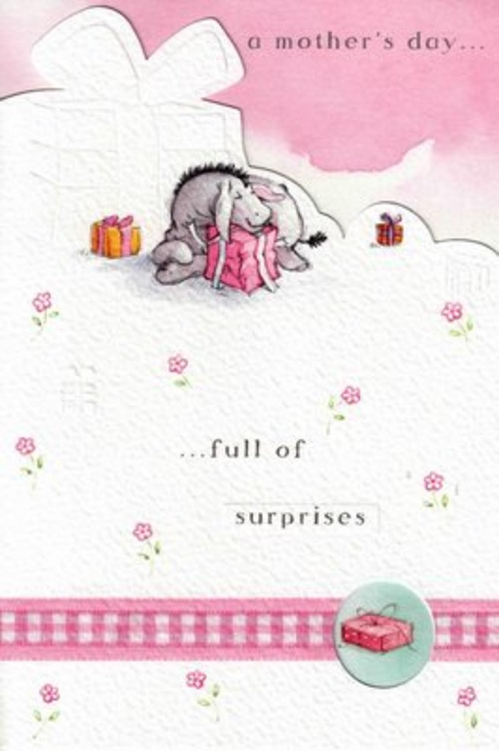 Winnie The Pooh Bear Mother's Day Card Eyore