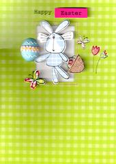 Happy Easter Bunny Hand-Finished Greeting Card