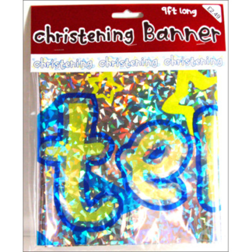 Boys Christening Foil Party Banner