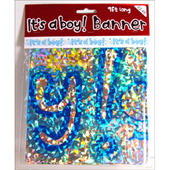 New Baby Boy Foil Party Banner