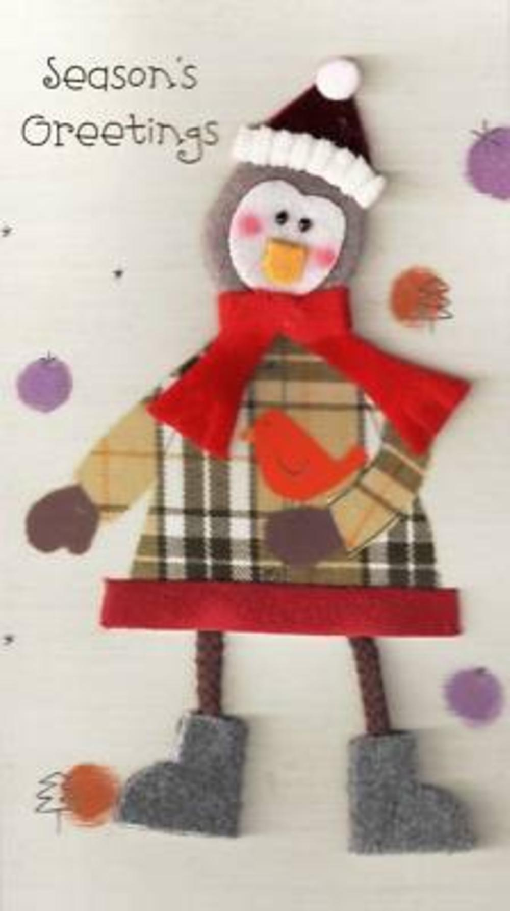 Handmade Tartan Penguin Christmas Card