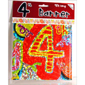 4th Birthday Foil Party Banner