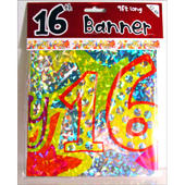 16th Birthday Foil Party Banner