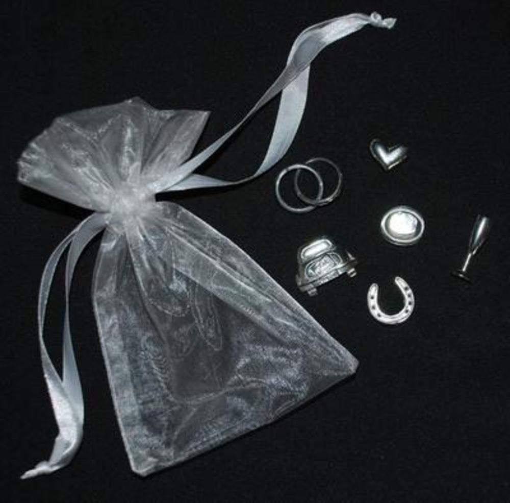 Wedding Day Gift Keepsake Bag of 6 Piece Charm Set