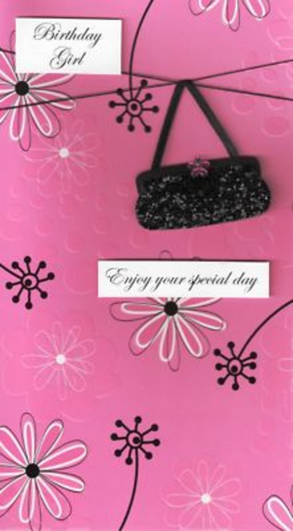 Luxury 3D Greeting Cards Birthday Card Female Black Bag