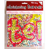 Girls Christening Foil Party Banner