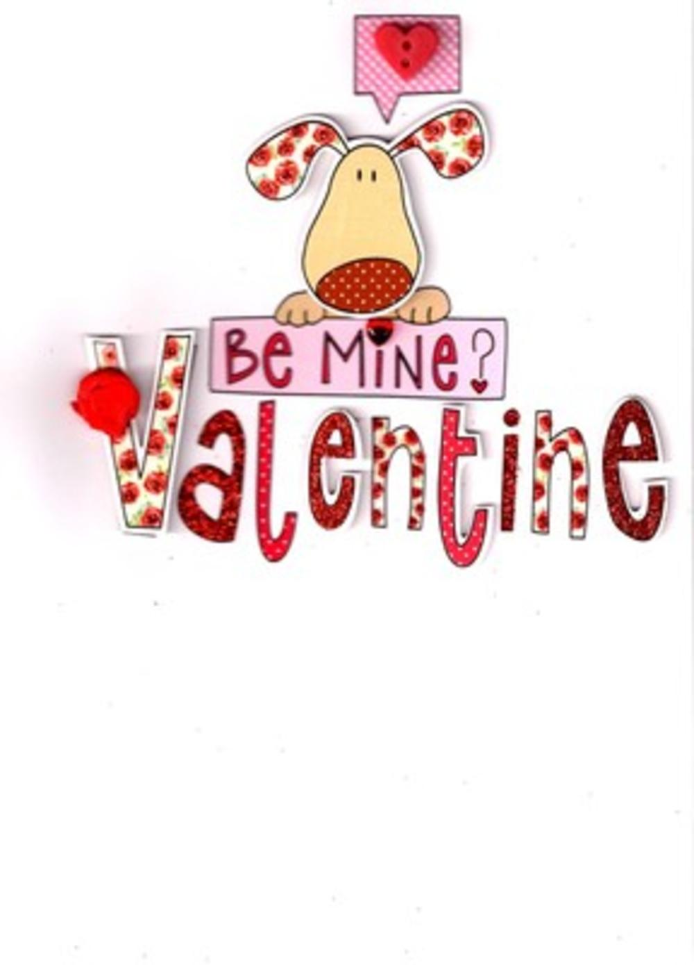 Cute 3D Puppy Dog Be Mine Valentine Card Blank Inside Valentines