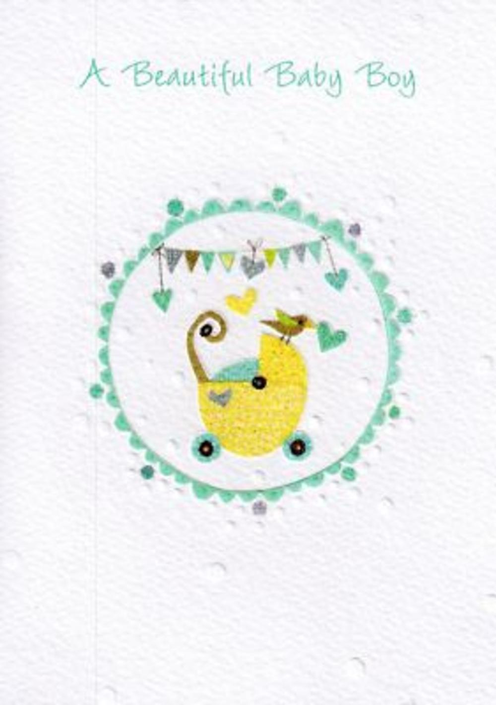 Glittered  New Baby Boy Greeting Card