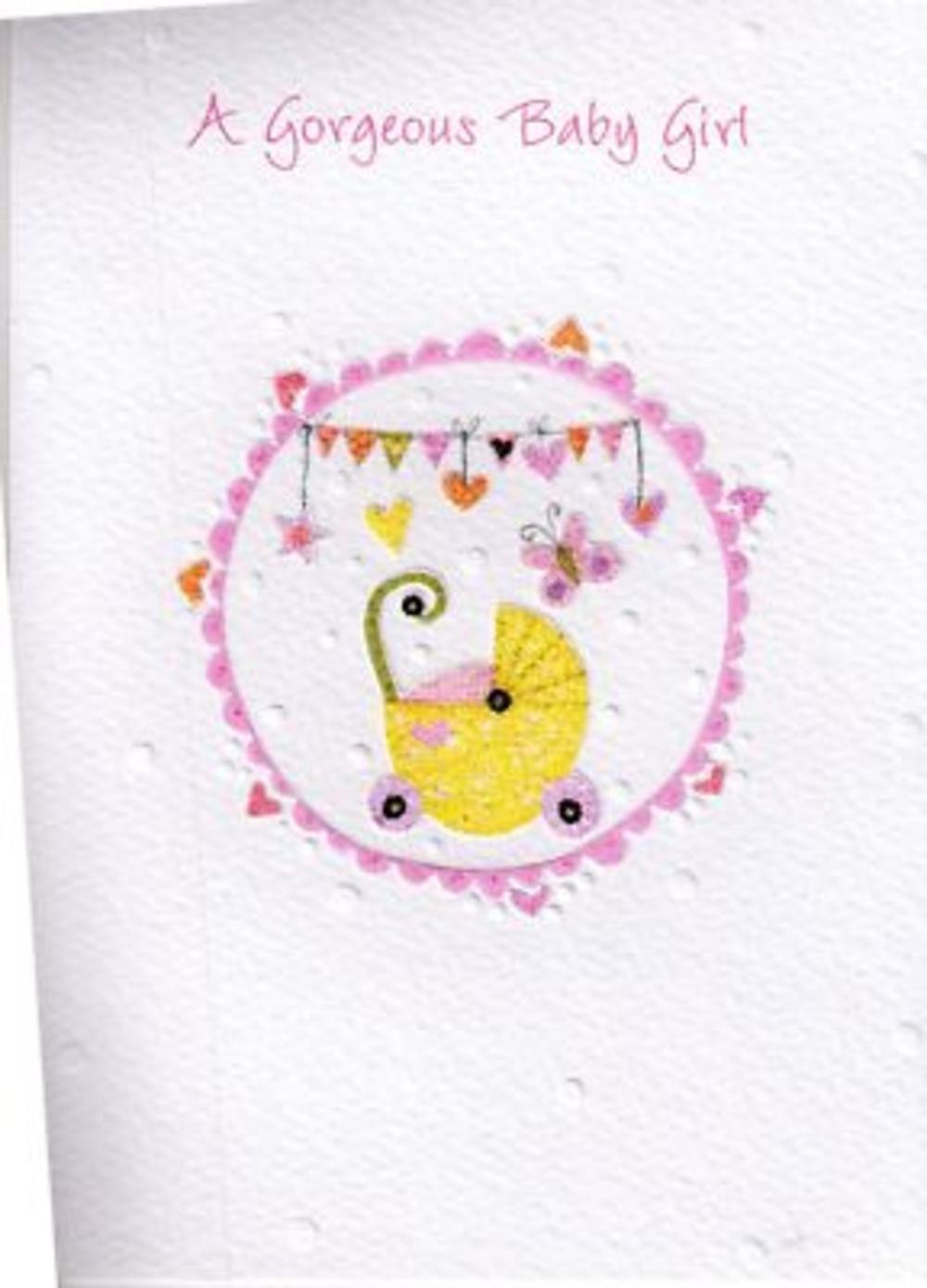 Glittered New Baby Girl Greeting Card