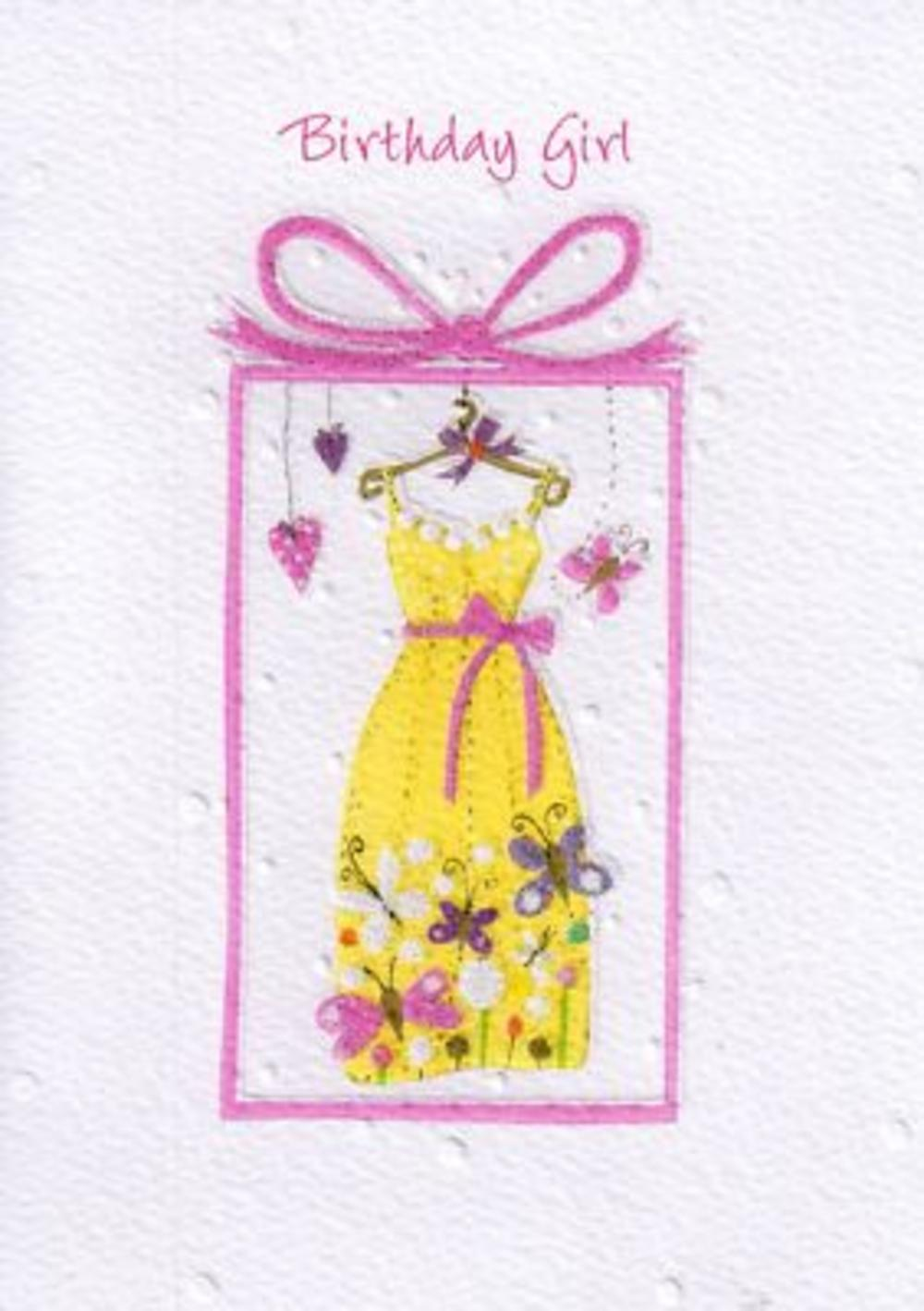 Glittered Female Birthday Girl Card