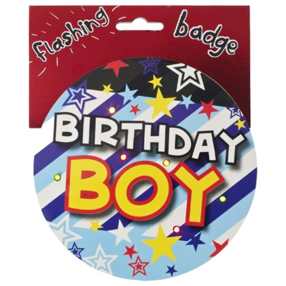 Birthday Boy Jumbo Flashing Party Badge